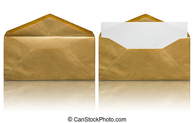open brown envelope with blank letter isolated on white...