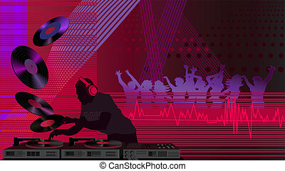 Dj in the Club - Illustration with a dj and people dancing...