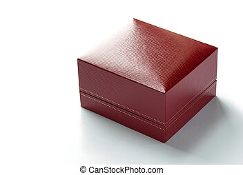 red leather box isolated on white background