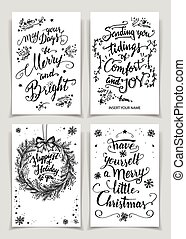 Christmas calligraphy greeting cards set - Greeting cards...