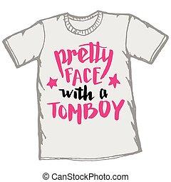 carino, faccia, con, à, maschiaccio, t-shirt,...