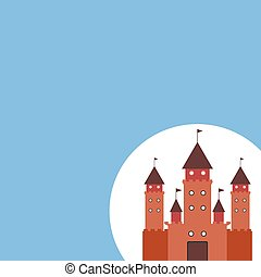 Card With Castle princess, fairytale blue background. Vector
