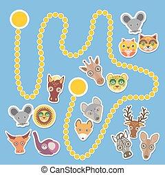 Funny cartoon animals game for Preschool Children. Vector...
