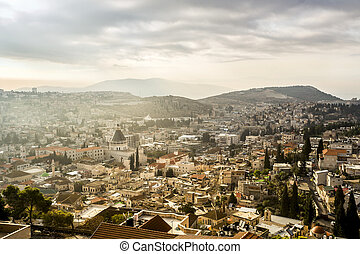 Nazareth panorama, Israel - Basilica of Announciation among...