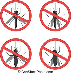 stop mosquito sign black in red circle Isolated. Vector...