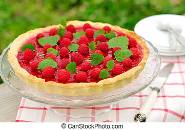 Fresh Raspberry Jelly Tart, selective focus