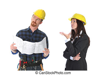 business team - construction worker and businesswoman with...