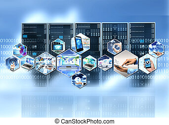 Internet and information technology with cloud server...