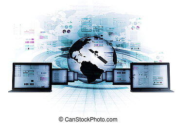 Information Technology concept - The concept of internet and...