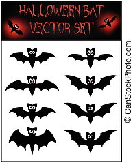 Vector set of Halloween bat