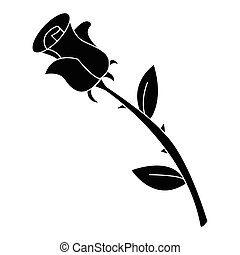 Image of silhouette rose. Vector illustration isolated on white background.