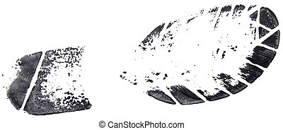 shoe print isolated on a white