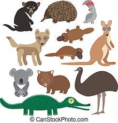 Animals Australia: Echidna Platypus ostrich Emu Tasmanian...
