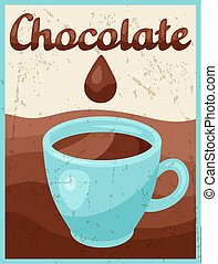 Poster with chocolate bar in retro style