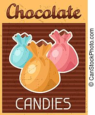 Poster with chocolate candy in retro style