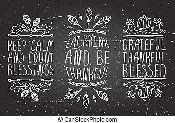 Hand-sketched typographic elements for thanksgiving design