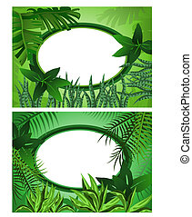 Jungle Frame - Two background illustrations of tropical...