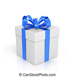 The white box wrapped with blue ribbon with a bow on a white...