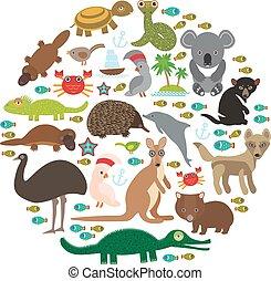 Animals Australia Echidna Platypus ostrich Emu Tasmanian...