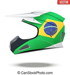 Brazil Flag on Motorcycle Helmets - Original Motorcycle...