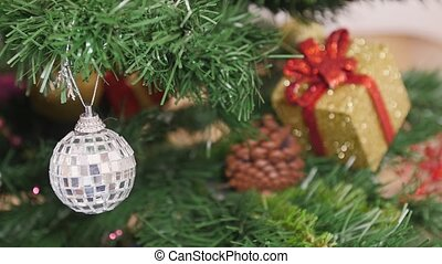 Decorate of Christmas tree mirror ball. Reflection