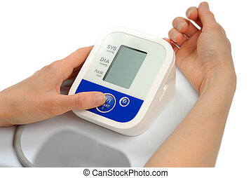 Best Blood Pressure - Female hand with sphygmomanometer...