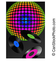 Disco Ball - Abstract disco ball and records with different...