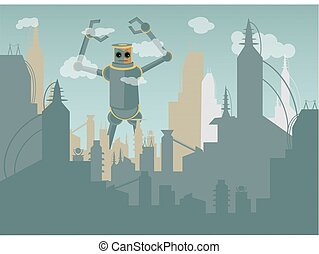 Giant Robot attacking city - Industrialized metropolis...
