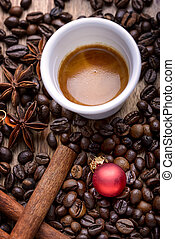 christmas coffee - cup of coffee with coffee beans,...