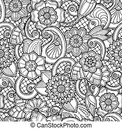 Seamless background in vector with doodles, flowers and...