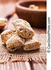The sweet nougat - Nougat, typical italian dessert with nuts...