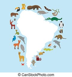South America sloth anteater toucan lama bat seal armadillo boa manatee monkey dolphin Maned wolf raccoon jaguar Hyacinth macaw lizard turtle crocodile deer penguin Blue-footed booby Capybara. Vector