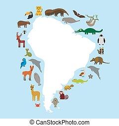 SUL, América, preguiça, anteater, Tucano,...