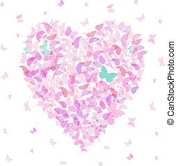 Heart - summer banner, card design, Colorful pink butterfly on white background. Vector