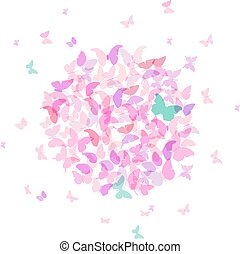summer round banner, card design, Colorful pink butterfly on white background. Vector