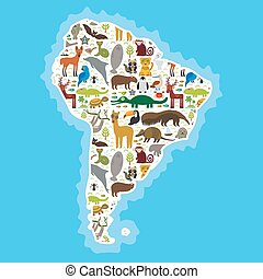 South America sloth anteater toucan lama bat fur seal armadillo boa manatee monkey dolphin Maned wolf raccoon jaguar Hyacinth macaw lizard turtle crocodile deer Blue-footed booby Capybara. Vector