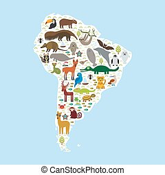 South America sloth anteater toucan lama bat fur seal armadillo boa manatee monkey dolphin Maned wolf raccoon jaguar Hyacinth macaw lizard turtle crocodile penguin Blue-footed booby Capybara. Vector