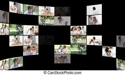 Jolly families having fun - Montage of jolly families having...