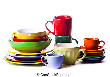 The composition of coloured utensils - Big stack of...