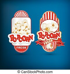 Vector set of labels for popcorn