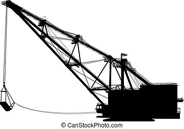 Dragline walking excavator with a ladle. Vector...