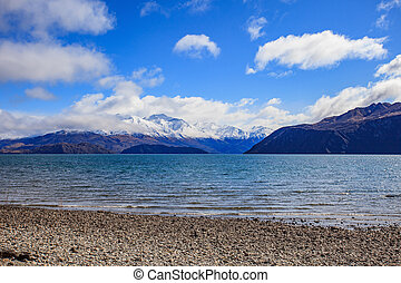 scenic of lake wanaka south island new zealand important...