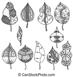 Forest leaves Vector Hand drawn artwork Set collection...