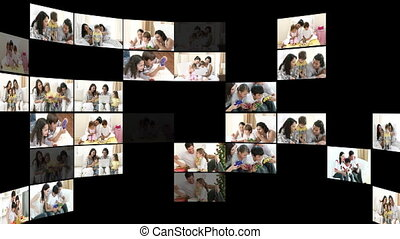 Montage of happy families at home