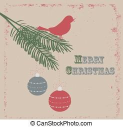 Christmas card with bird