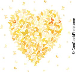 Heart - summer banner, card design, Colorful Yellow Orange butterfly on white background. Vector