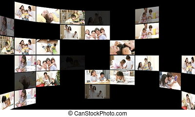 Montage of cheerful families