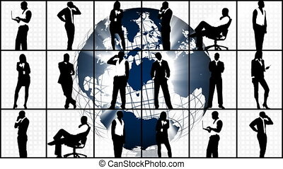 Animation of silhouettes showing business concept in HD