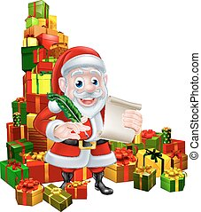 Santa Christmas List Scene - Christmas cartoon of Santa...