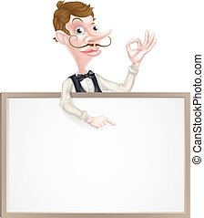 Waiter Perfect Sign Pointing - An illustration of a cartoon...